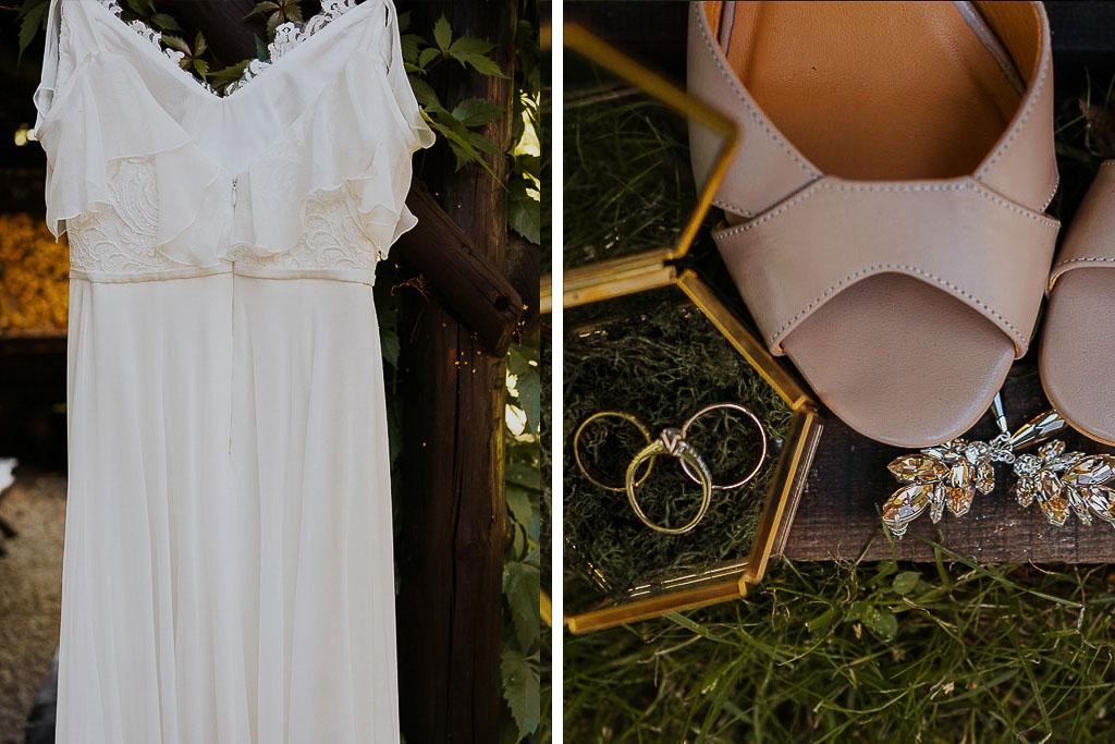 suknia ślubna, biżuteria ślubna oraz buty na ślub