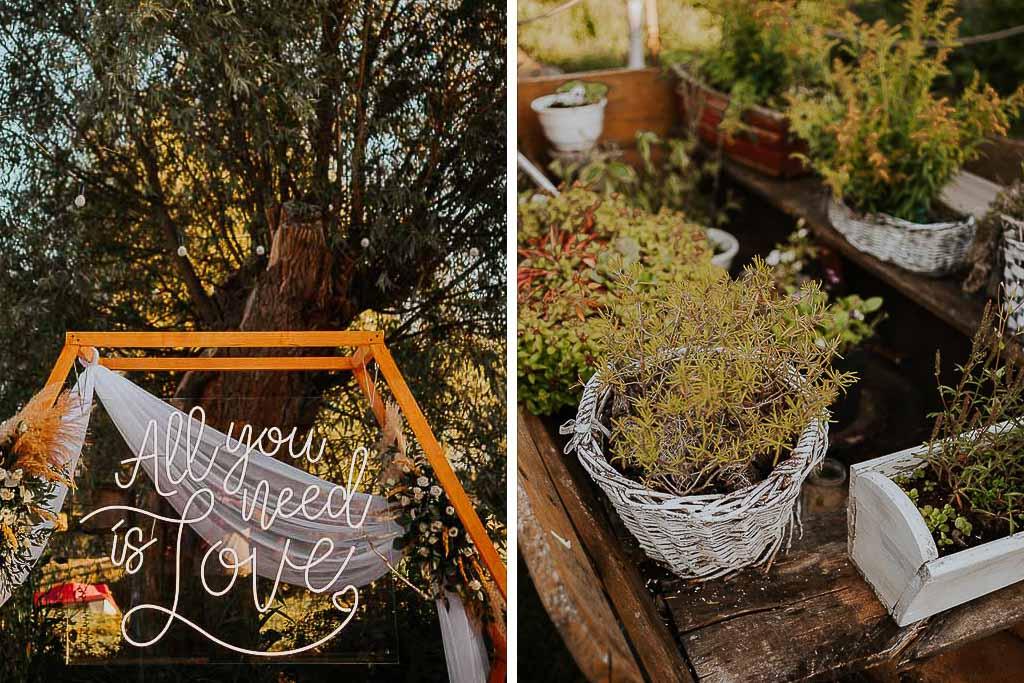 rośliny i dekoracje, świecący napis all you need is love