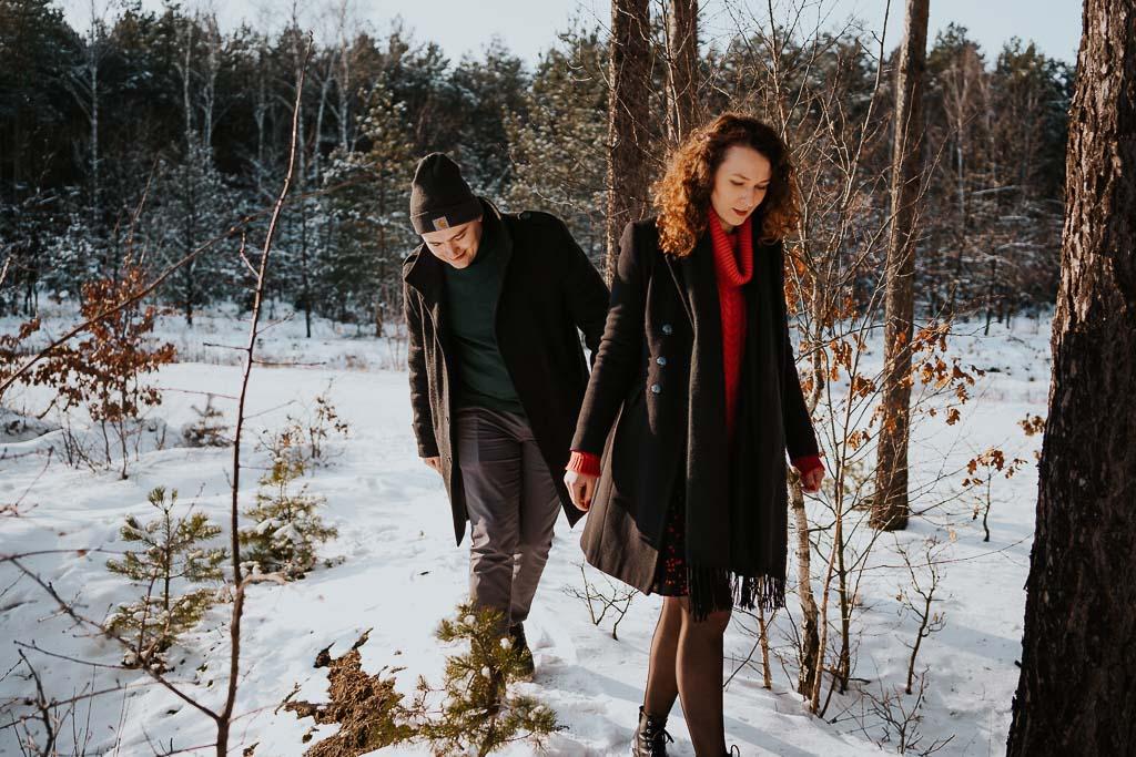 zima las sesja narzeczeńska fotograf Legionowo Piotr Czyżewski
