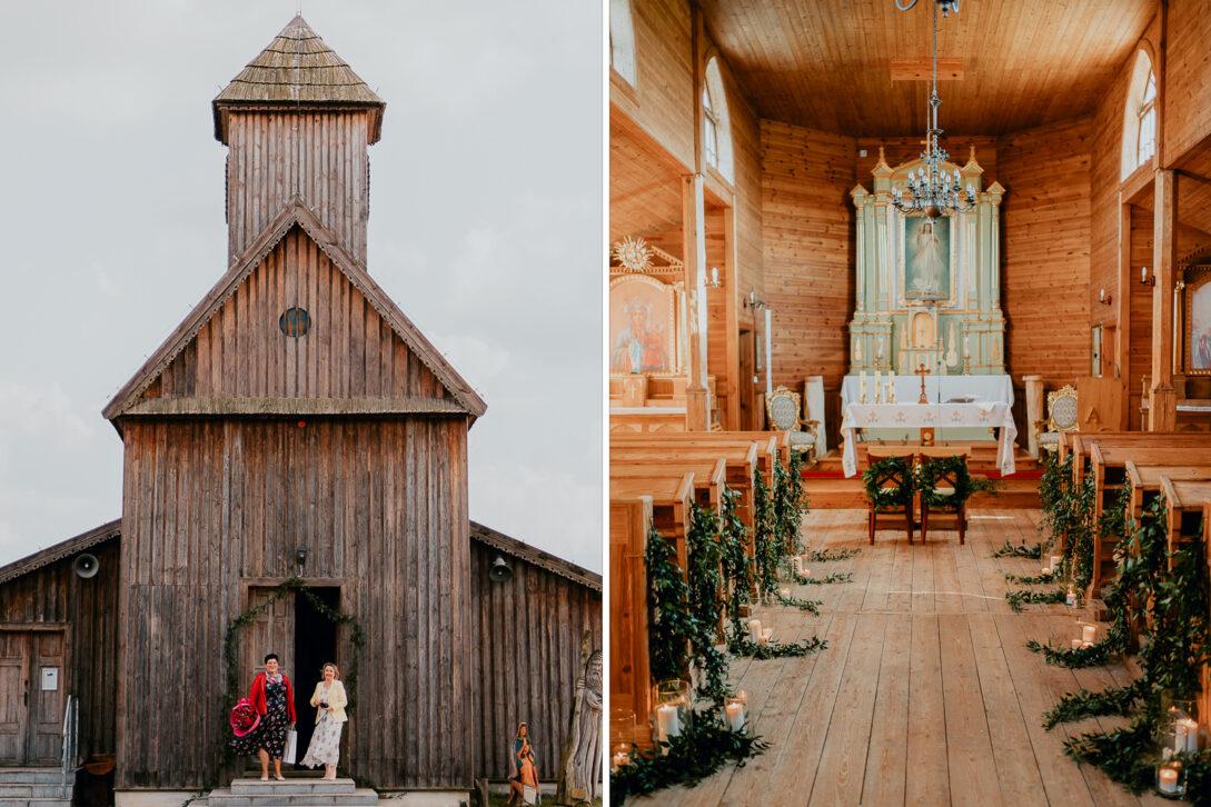 drewniany kościół dekoracje wesele w namiocie piotr Czyżewski fotograf na ślub Legionowo